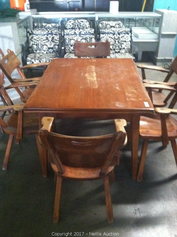 ANTIQUE CUSHMAN SOLID MAPLE RETRO STYLE DROP LEAF DINING TABLE